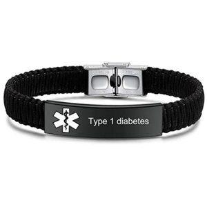 Type 1 Diabetes Medical ID Alert Bracelet